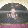 Playing peek a boo through the tent